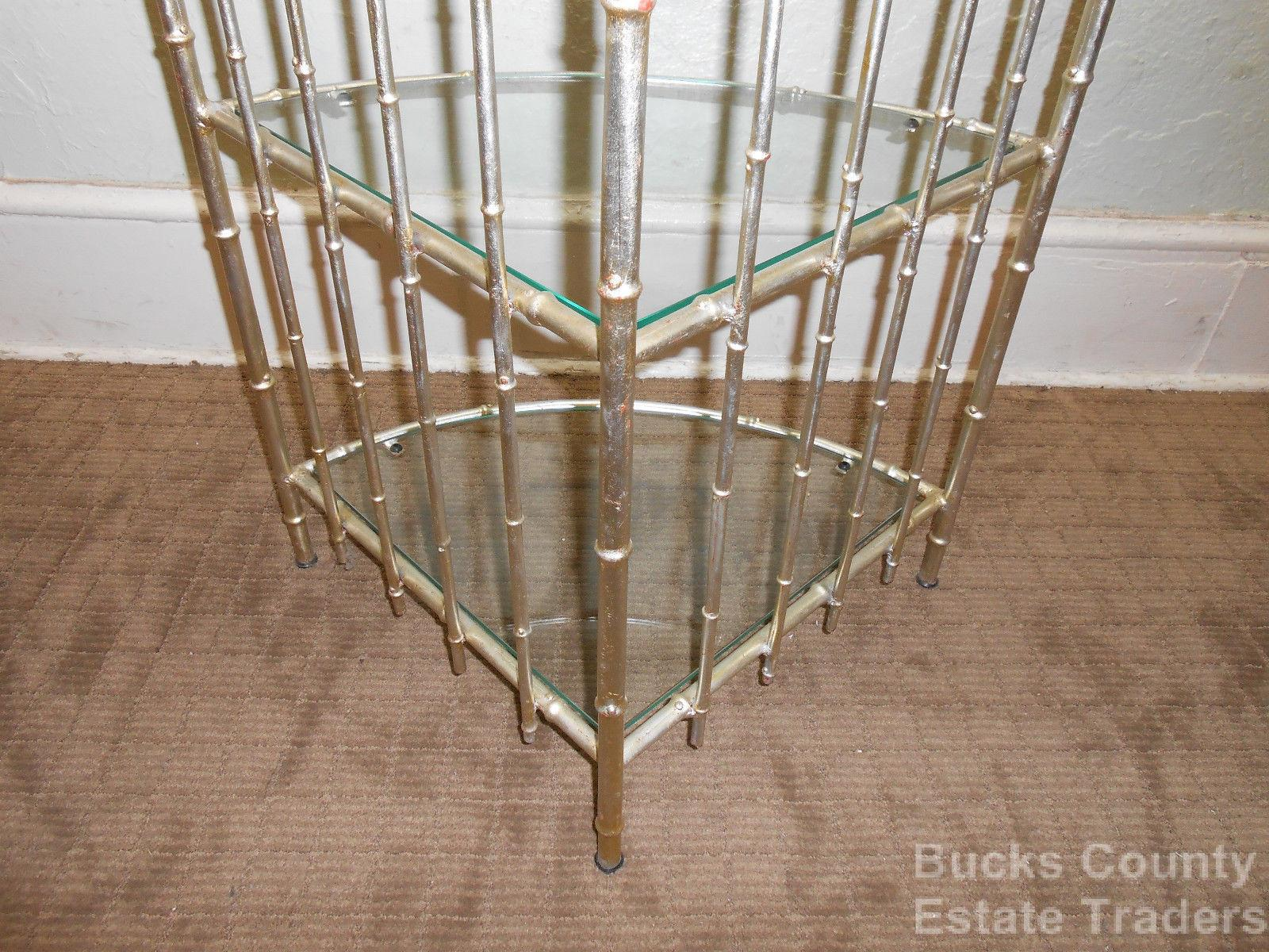 Hollywood Regency Faux Bamboo Gilt Metal Etagere   Image 4 Of 10