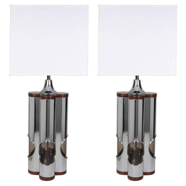 Pair of Sculptural Hollywood Regency Lamps by Laurel For Sale - Image 11 of 11