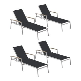 Outdoor Sling Chaise Lounge, Vintage and Black (Set of 4) For Sale