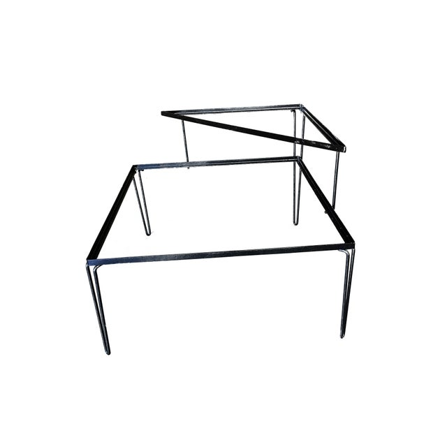 Metal Restored Mid Century Woodard Two-Tier Glass Top Iron Outdoor/Patio Side Table For Sale - Image 7 of 7