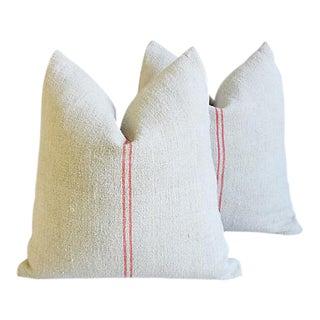 "French Farmhouse Gain Sack Feather/Down Pillows 22"" Square - Pair"