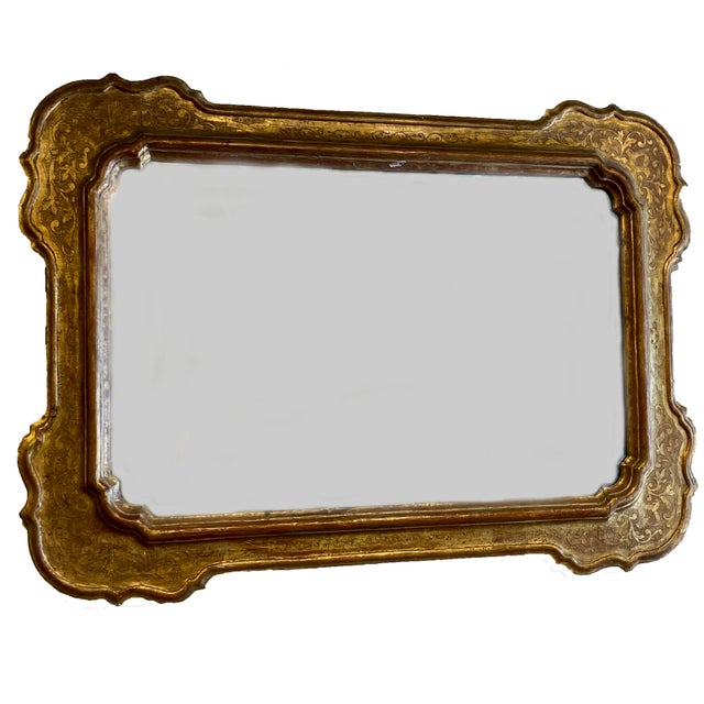 Glass 19th Century Antique French Gilt Mirror For Sale - Image 7 of 8