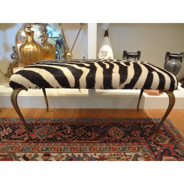 Italian Brass Bench Upholstered in Zebra Hide - Image 2 of 8