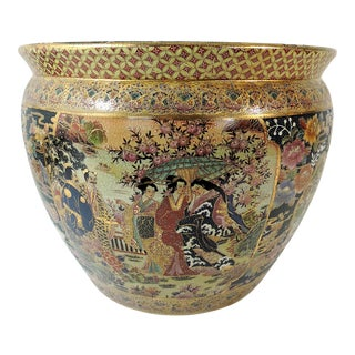Vintage Mid Century Gilt and Enamel Satsuma Style Porcelain Planter / Jardiniere With Goldfish For Sale