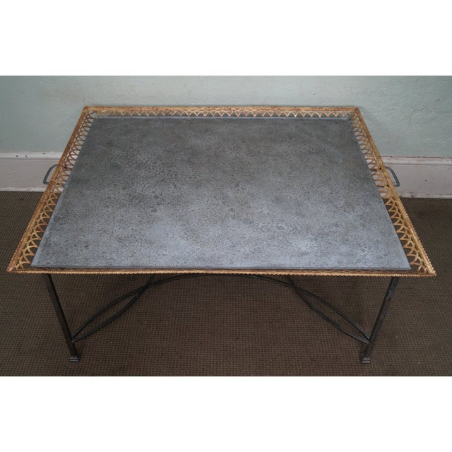 Store Item #: 14831 Niermann Weeks Large Regency Silver Leaf Tray Top Steel Frame Coffee Table AGE/COUNTRY OF ORIGIN:...