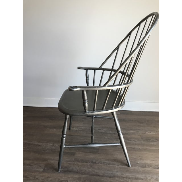 English Traditional Modern Windsor Metal Armchair For Sale - Image 3 of 6