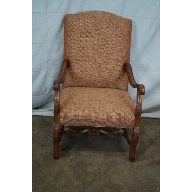 Quality Renaissance Style Carved Frame Arm Chair - Image 2 of 10