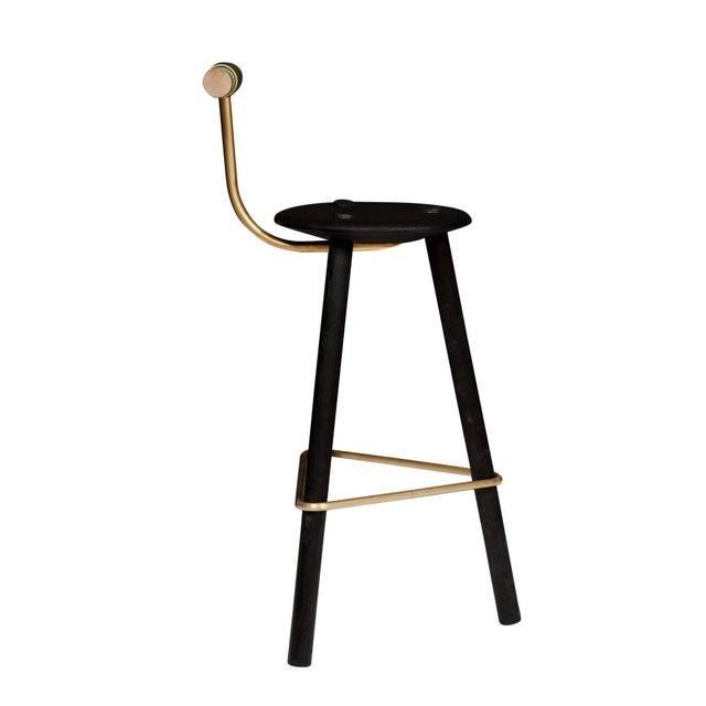 Customizable Set of 4 Erickson Aesthetics Charred Ash Tripod Stools with Backrest For Sale - Image 4 of 4