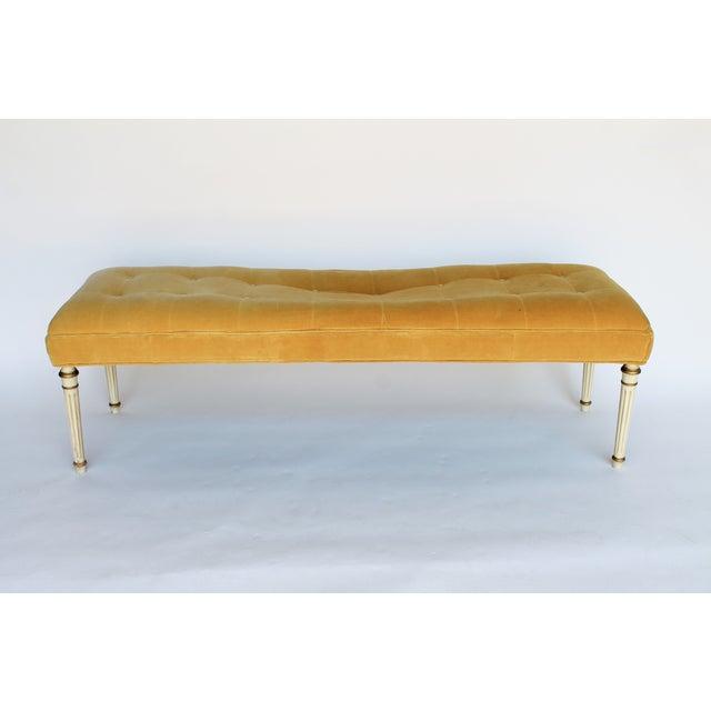 Hollywood Regency Gold Tufted Velvet Bench