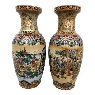 Satsuma Porcelain Hand Painted Vases-Pair For Sale