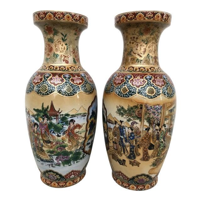 Satsuma Porcelain Hand Painted Vases Pair Chairish