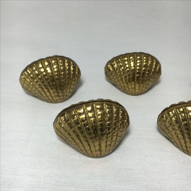 Hollywood Regency Brass Shell Place Card Holders - Set of 5 For Sale - Image 3 of 4