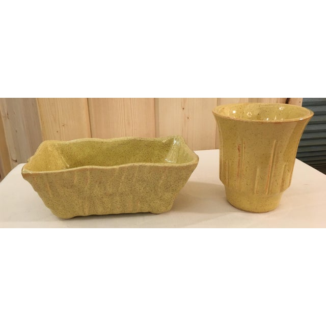 Mid-Century Modern Mustard Speckled Planters - A Pair - Image 2 of 11