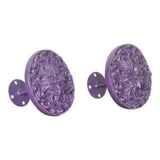 Vintage Amethyst Lacquer Finish Large Floral Curtain Tie Backs - a Pair For Sale