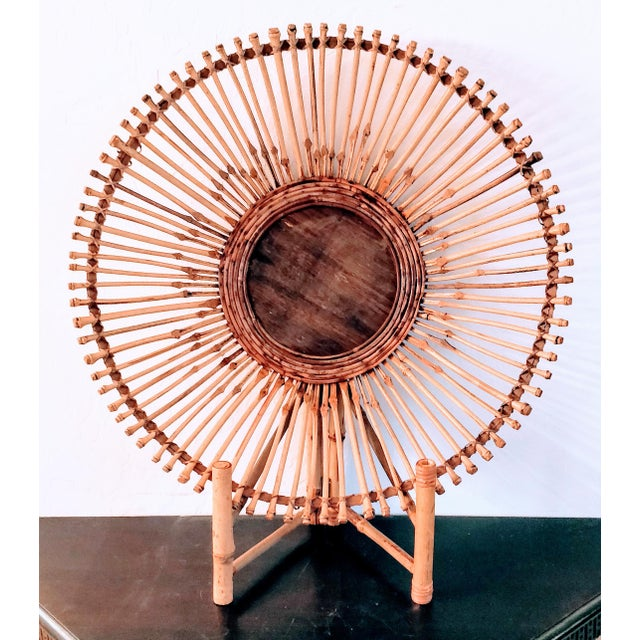 Bamboo Mid-Century Modern Pencil Reed Bamboo Bowl Centerpiece For Sale - Image 7 of 11