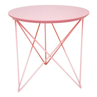 Helms Outdoor End Side Table, Pink Lacquered Top with Pink Powder Coated Stainless Steel Base For Sale