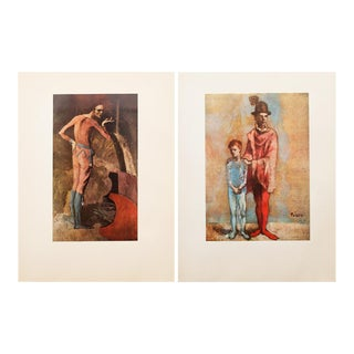 1950s Picasso, Original Period Rose Epoch Harlequin Lithographs - a Pair For Sale