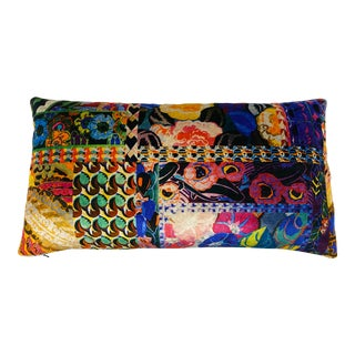 "G P & J Baker ""Barcelona"" Velvet Print Lumbar Pillow With Micro Cord Trim For Sale"