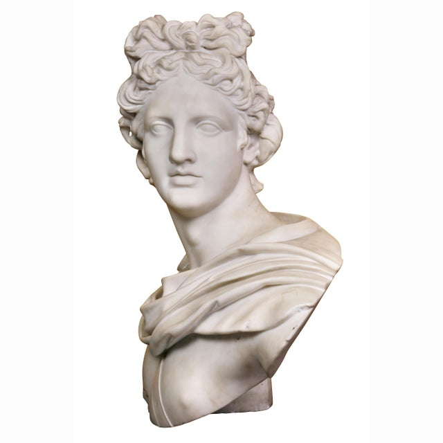 Italian White Marble Bust of Apollo Belvedere With Bauhaus Design Pedestal Base For Sale In Boston - Image 6 of 9