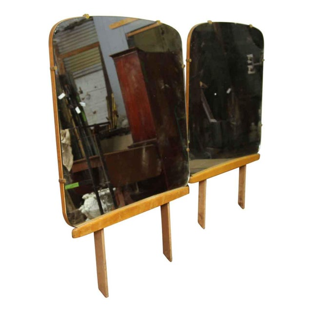 Rounded Square Dresser Mirror With Wooden Base For Sale - Image 6 of 7