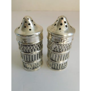 Sterling Over Glass Hallmarked Salt & Pepper Shakers - a Pair Preview