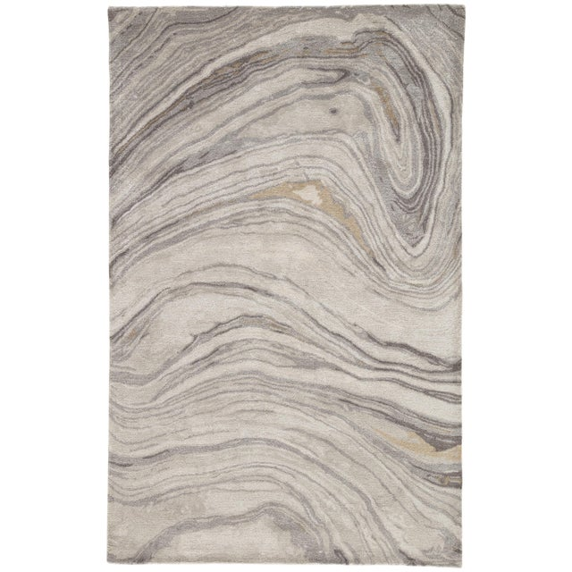 Jaipur Living Atha Handmade Abstract Gray/ Gold Area Rug - 2′ × 3′ For Sale In Atlanta - Image 6 of 6