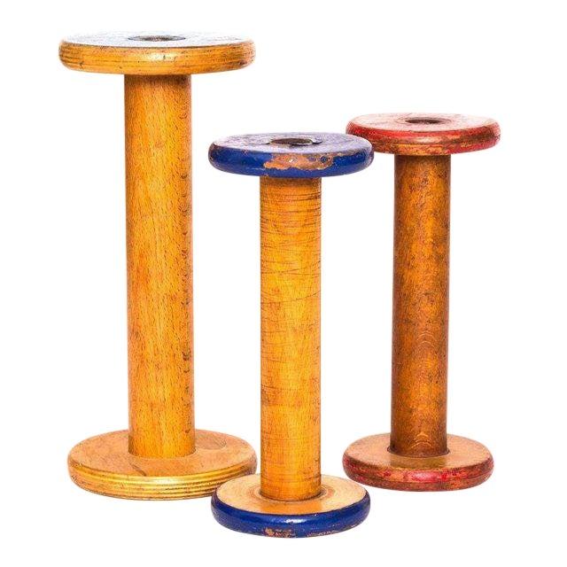 Antique Canadian Textile Spools, Set of 3 For Sale