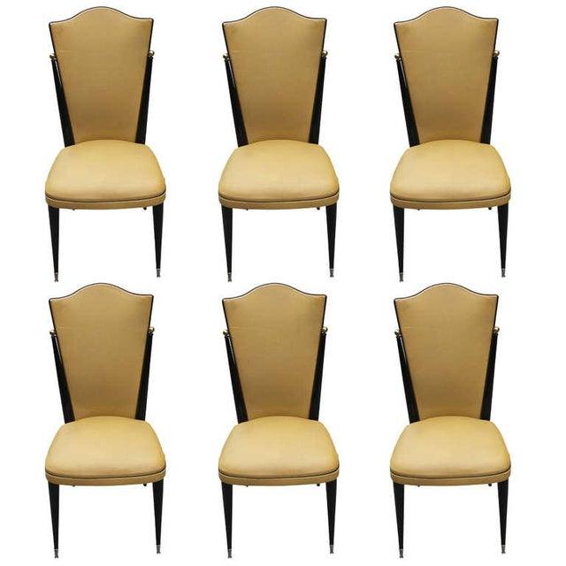 French Art Deco Ebonized Walnut Chairs - Set of 6 - Image 1 of 7