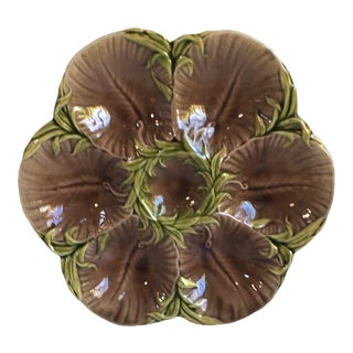 19th Majolica Chocolate Oyster Plate Luneville For Sale