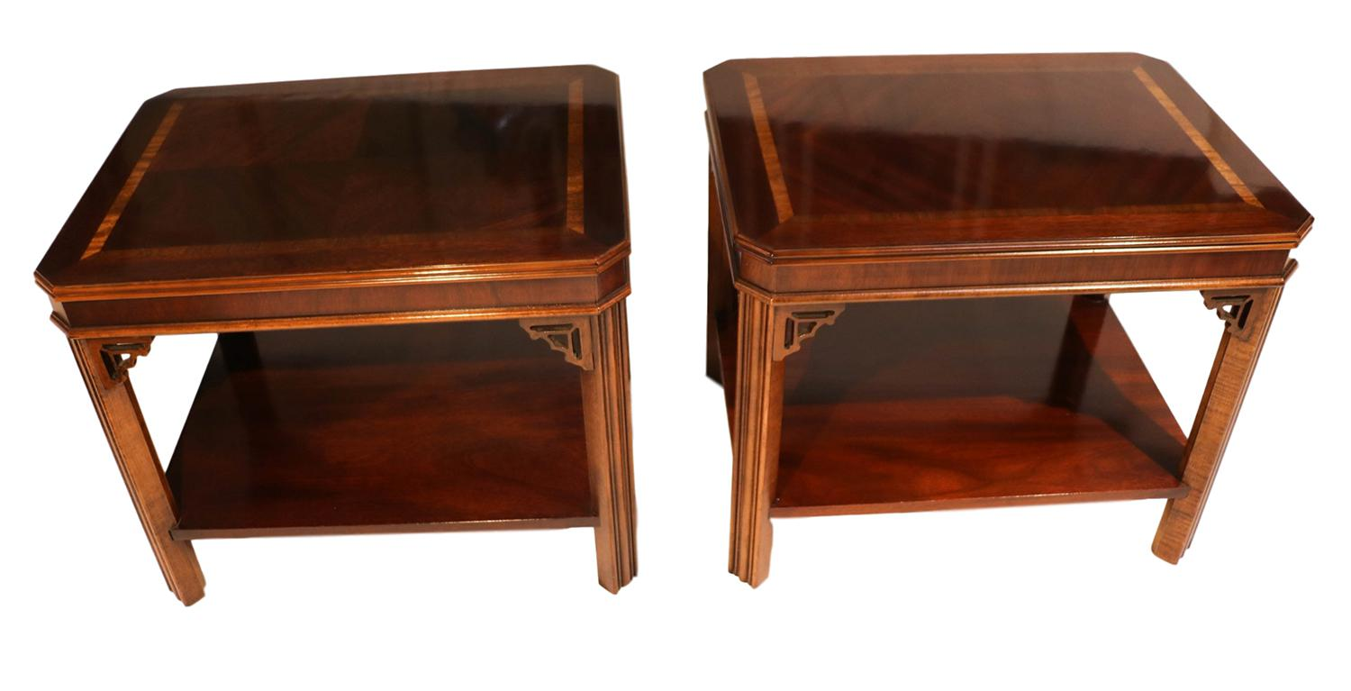 Lane Chippendale Style Mahogany Side Tables   A Pair   Image 2 Of 9