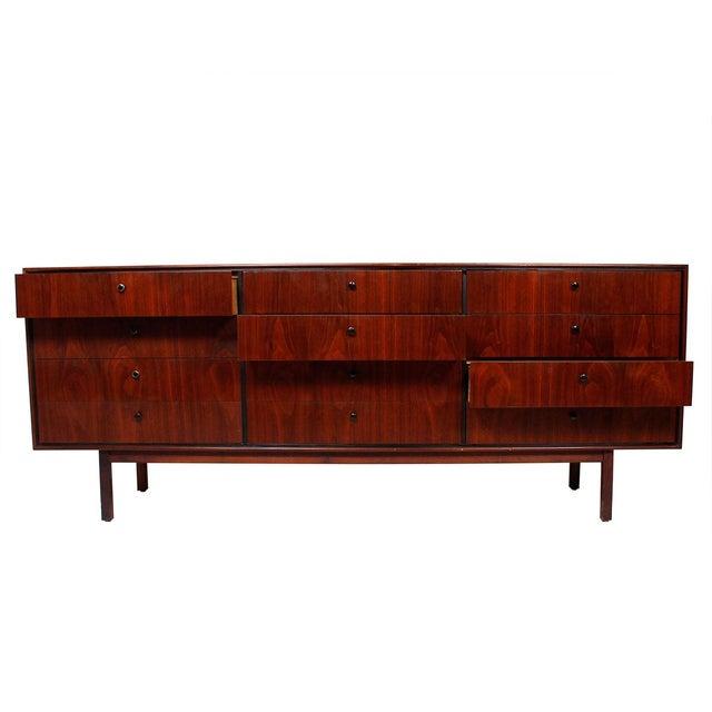 Mid Century Walnut 12-Drawer Dresser / Credenza - Image 4 of 9