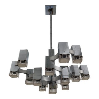 Cubic Chrome Chandelier by Sciolari, Italy, 1970s For Sale