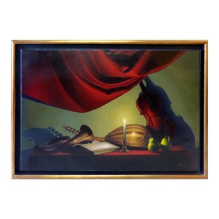 Candle-Lit Still Life Oil Painting by Nicolas Fasolino