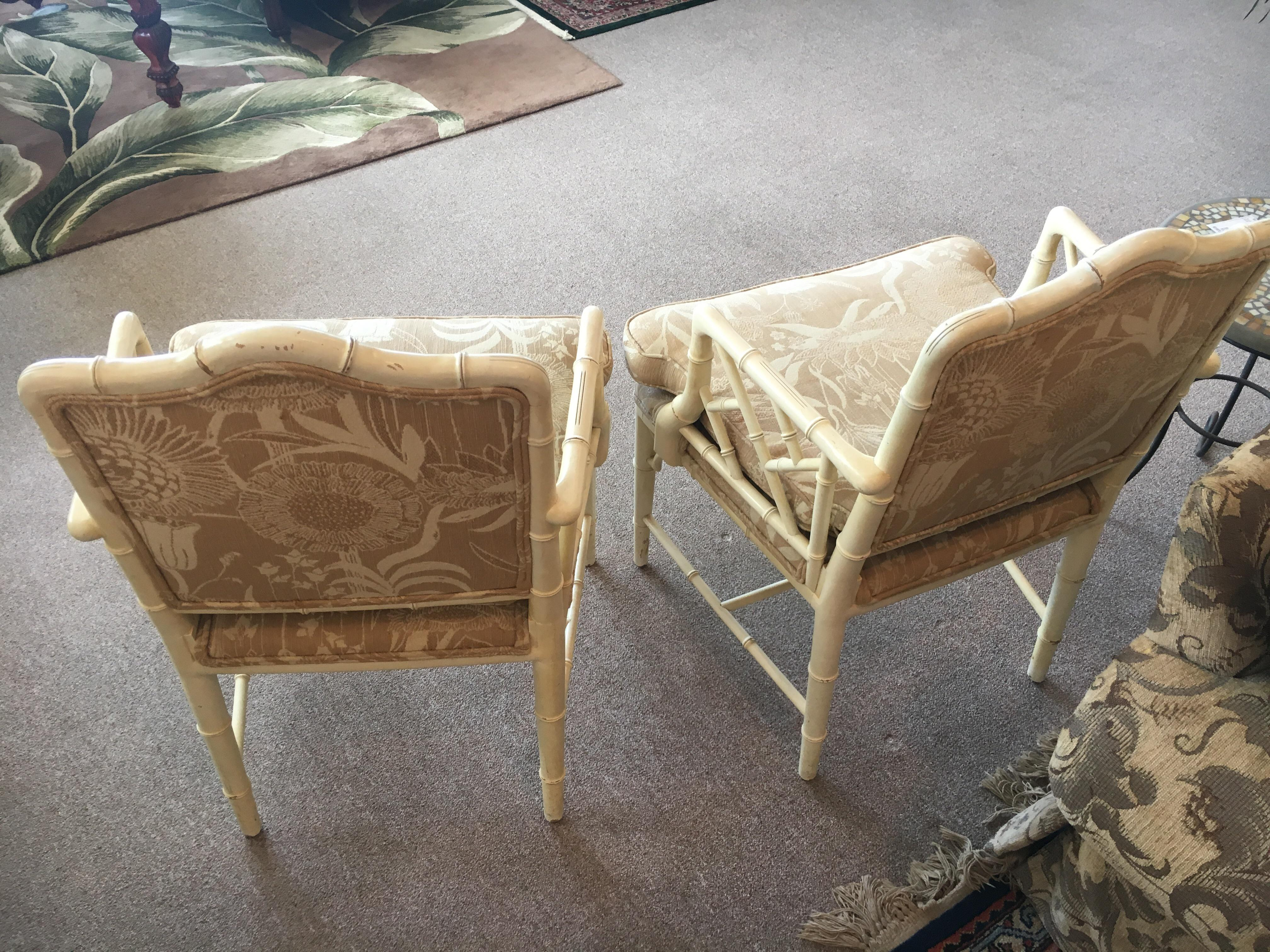 White Hollywood Regency Chairs   A Pair   Image 3 Of 4