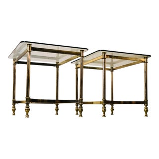 Vintage 1960s Brass & Glass Top Side Tables, Pair For Sale