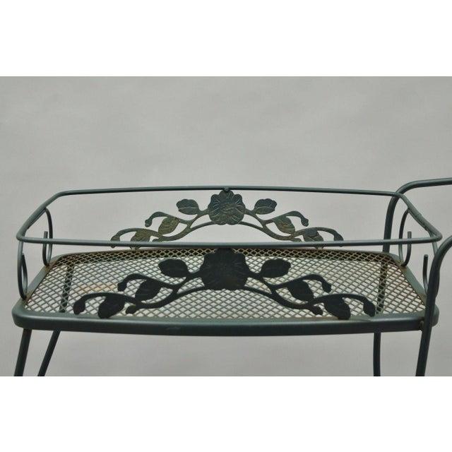 Meadowcraft Dogwood Green Wrought Iron Tea Cart Rolling Bar Server Patio Garden For Sale In Philadelphia - Image 6 of 11