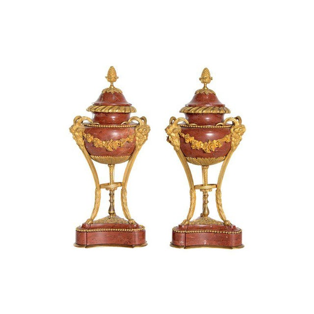 Late 19th Century Pair of Gilt Bronze Mounted Rouge Marble Lidded Coupes For Sale - Image 13 of 13
