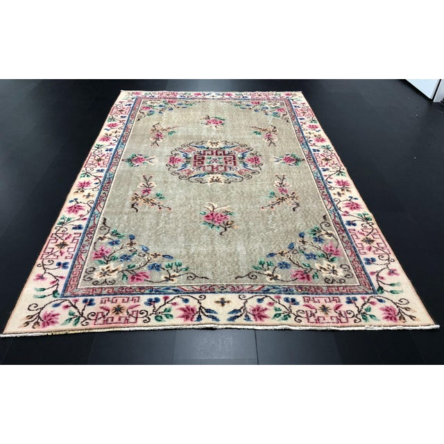 1970s Vintage Floral Design Turkish Anatolian Handwoven Rug - 5′8″ × 8′8″ For Sale In Phoenix - Image 6 of 11