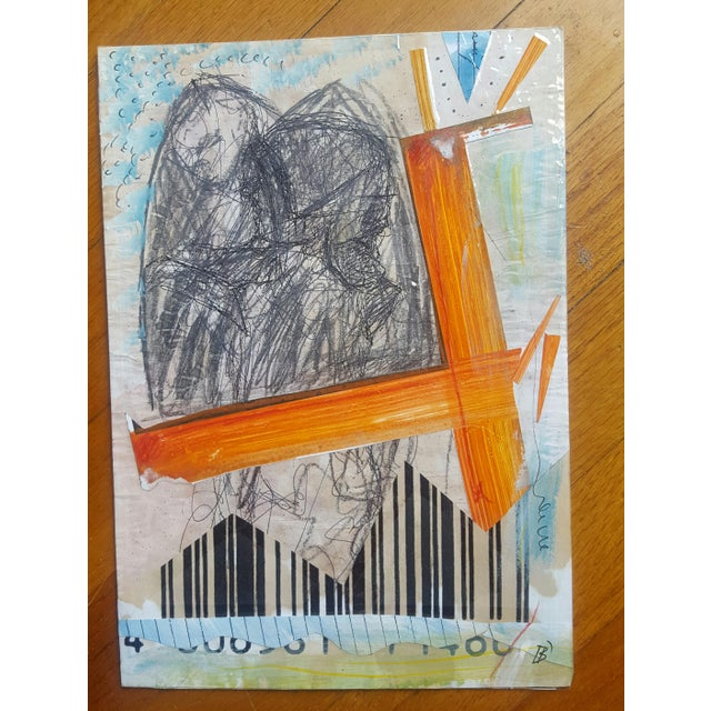 This wonderful abstract multi-media collage is part of a collection of art that I purchased from this artist. This...