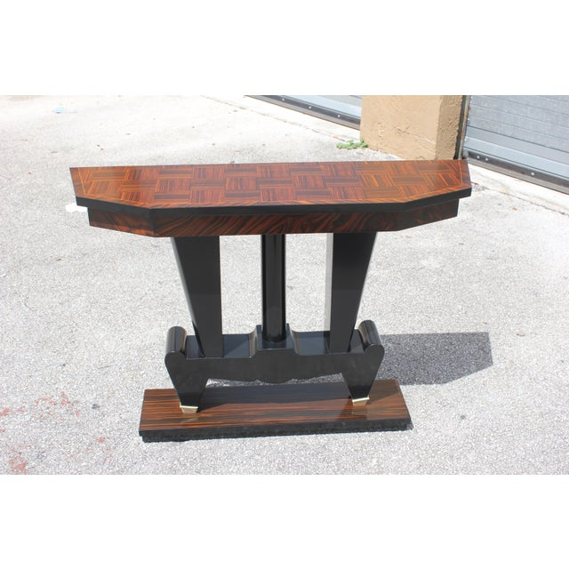 Bronze 1940s French Art Deco Macassar Ebony Console Table For Sale - Image 7 of 13