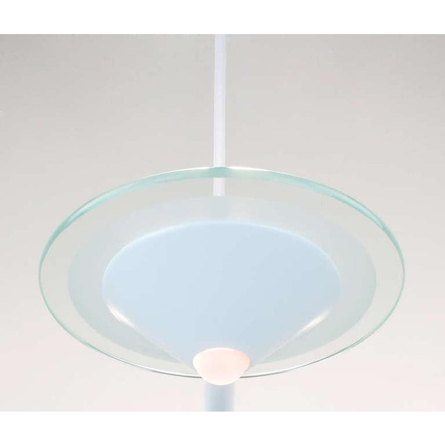 1980s Postmodern Glass & White Triple Pendant Chandelier For Sale - Image 5 of 8