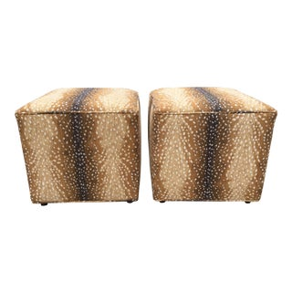 Antelope Chenille Ottomans- A Pair For Sale