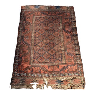 Distressed Antique Persian Baluch Handmade Rug - 3′10″ × 5′7″