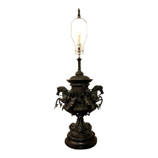 """Émile Louis Picault """"Chevaux Marins"""" Antique Bronze Lamp"""