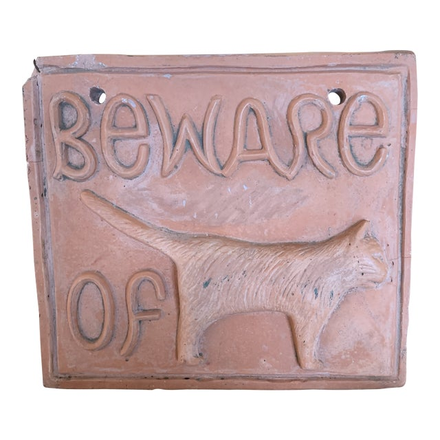 Plaster Beware of Cat Sign For Sale
