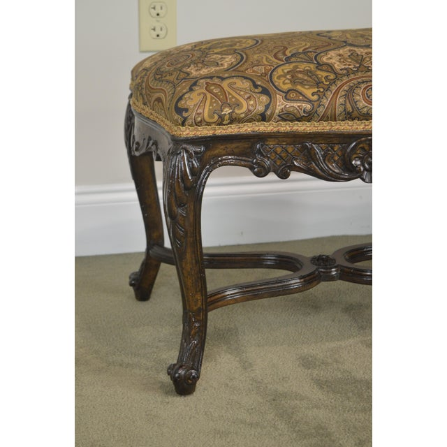 Blue French Louis XV Style Carved Walnut Window Bench For Sale - Image 8 of 12