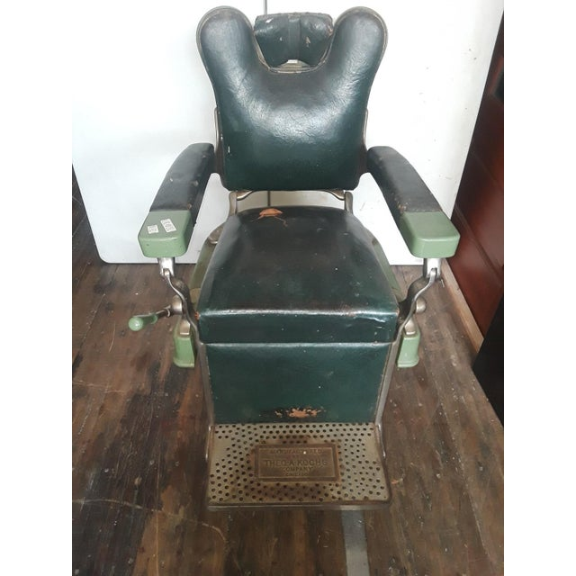Metal Vintage Theo-A-Kock Green Leather Barber Chair For Sale - Image 7 of 7