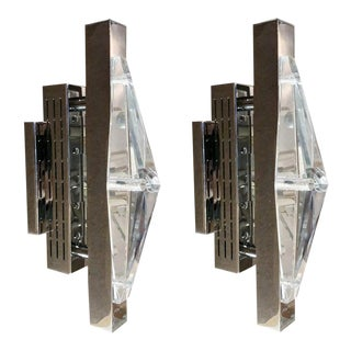 Crystal Chrome Sconces / Flush Mounts by Fabio Ltd - a Pair For Sale