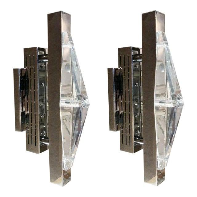 Crystal Chrome Sconces / Flush Mounts by Fabio Ltd - a Pair For Sale