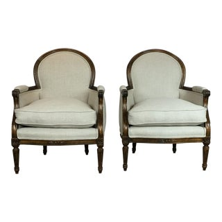 Late 20th Century Vintage Louis XVI Style Club Chairs- A Pair For Sale